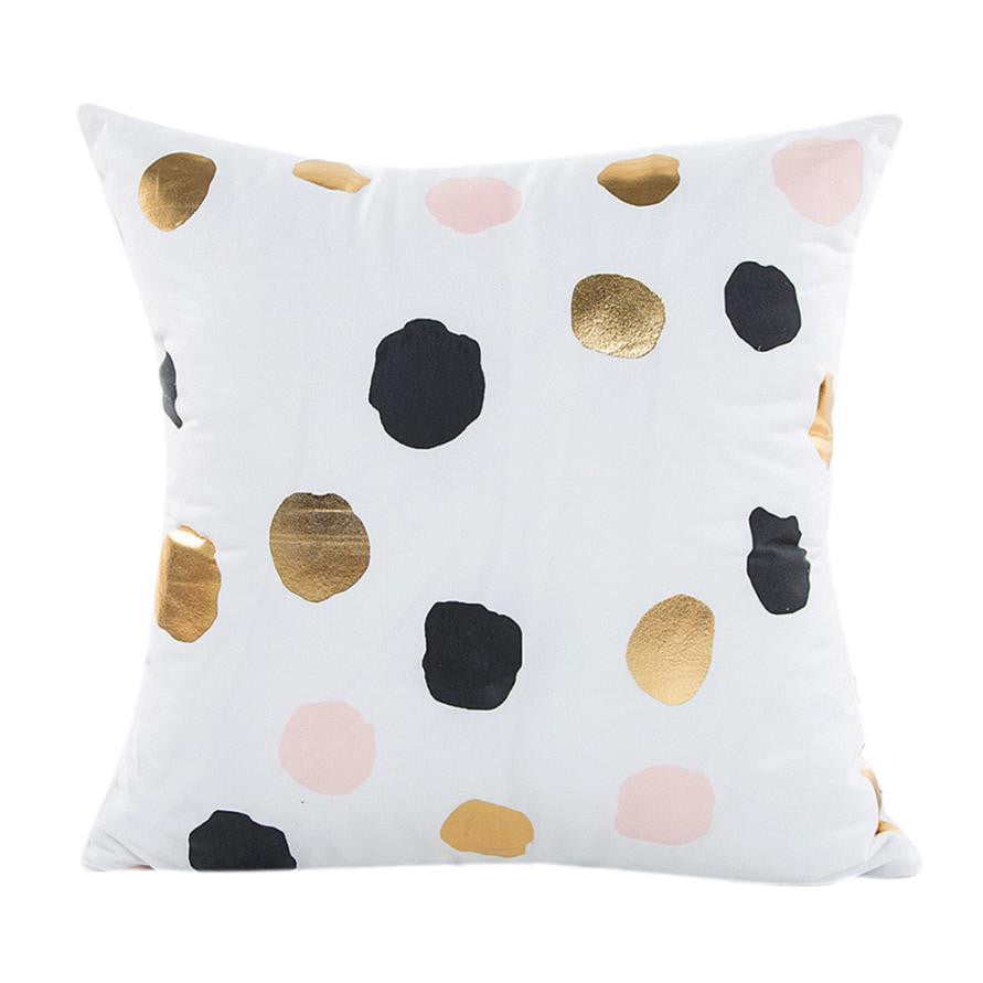 Gold & White Geometric Print Cushion Cover Home Decor