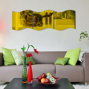 New 3PCS DIY Removable Mirror Mural