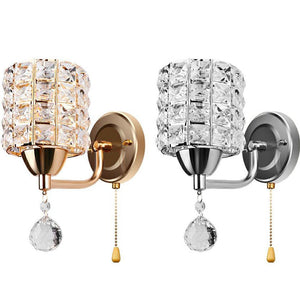 Modern Crystal Cylinder Wall Lamp with Pendant and Pull Switch