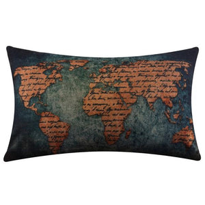 World Map Flax Pillow Case Decorative Cushion Cover