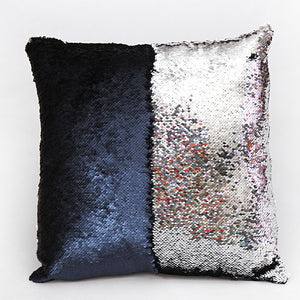 Silver Two Tone Glitter Sequins Cushion Cover