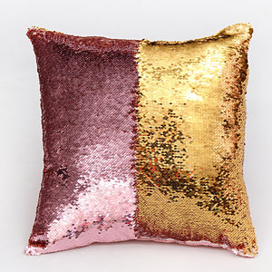 Pink & Gold Two Tone Glitter Sequins Cushion Cover