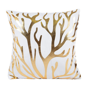 Gold Coral Foil Prints Cushion Cover Home Decor