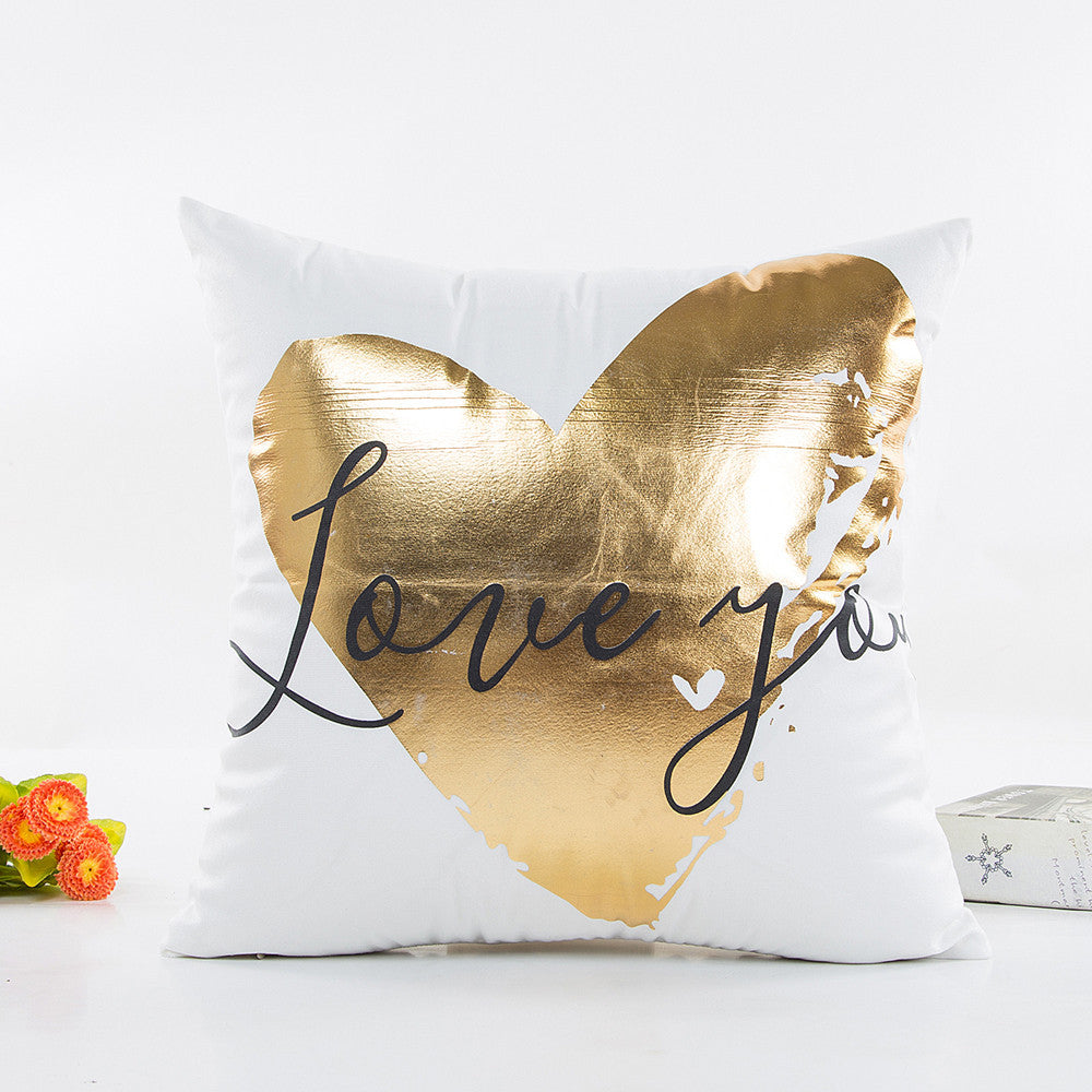 Gold & White Geometric Prints Cushion Cover