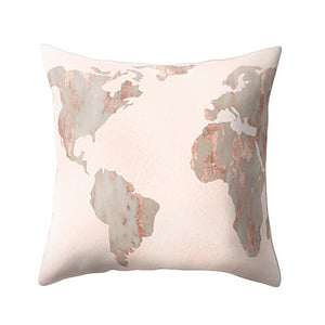 Geometric Marble Texture World Map Cushion Cover