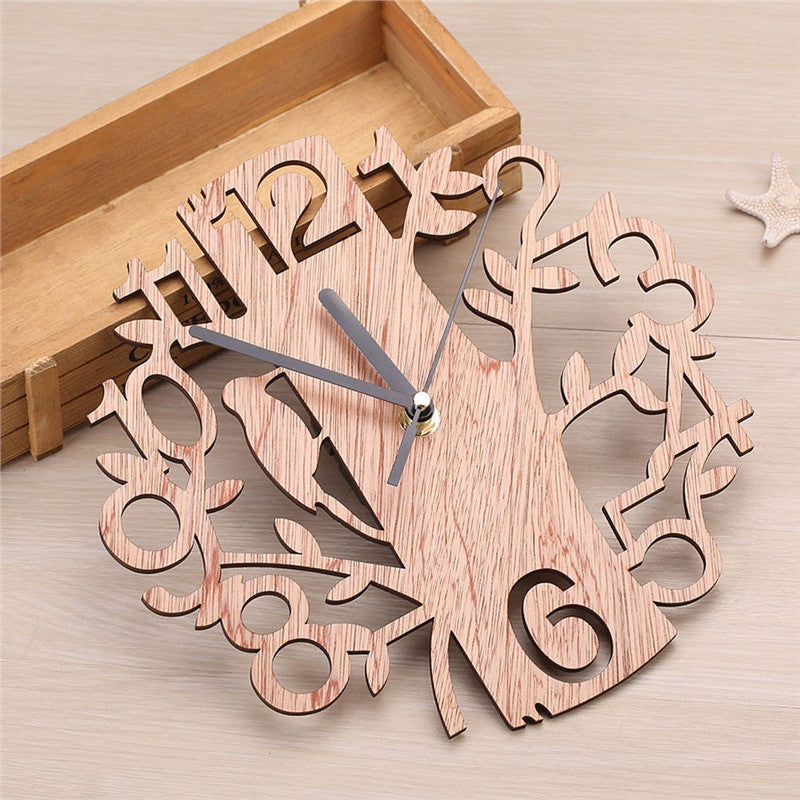 Creative Tree Shaped Wooden Wall Clock House Living Room Decoration