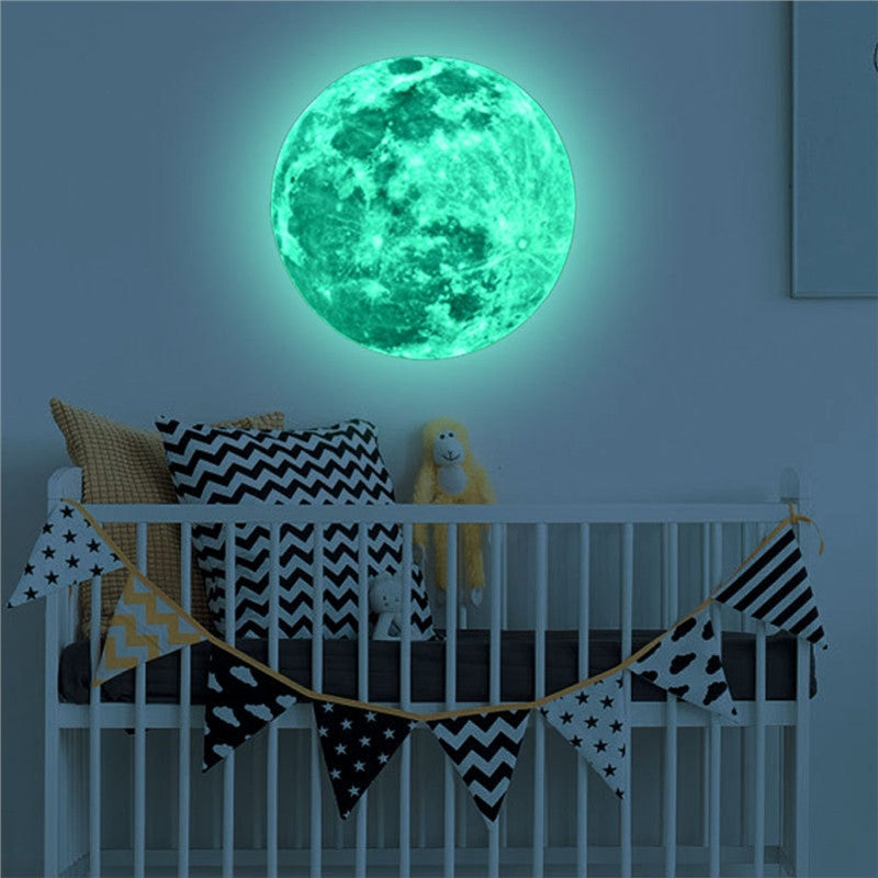 12 CM Full Moon Night Light Fluorescent Moon Wall Stickers Glow In The Dark Lunar Effect