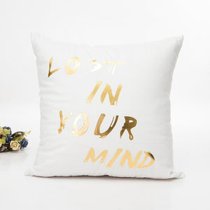 White & Gold Lost In Your Mind Cushion Cover