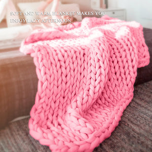 Pink Chunky Knitted Handmade Throw Blankets