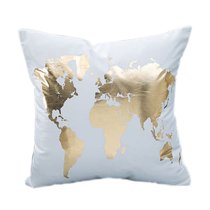 Simple & Chic World Map Decorative Cushion Cover