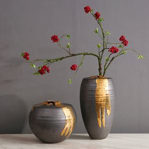 Charcoal & Gold Ceramic Flower Vase
