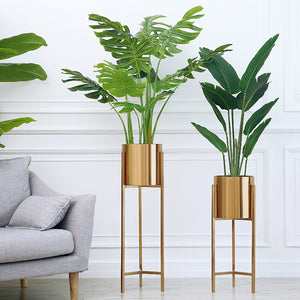 Contemporary Gold Metal Plant Stands Floor Vase