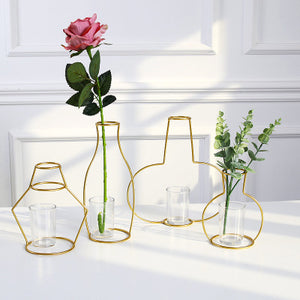 Contemporary Gold Iron Clear Glass Flower Vase