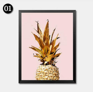 Pink Sea Wave Prints Gold Pineapple Wall Art Canvas Painting