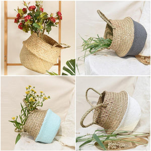 Bamboo Seagrass Wicker Basket Planter Floor Vase