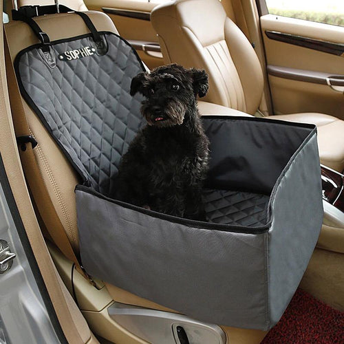 Personalised 2 in 1 Dog Car Carrier and Seat Protector Grey
