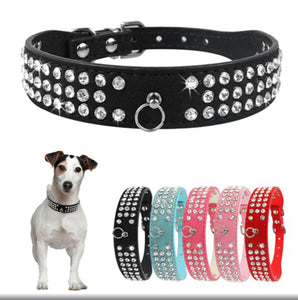 Everyday Personalised Multi Rhinestone Suede LeatherDog Collar with Matching Tag