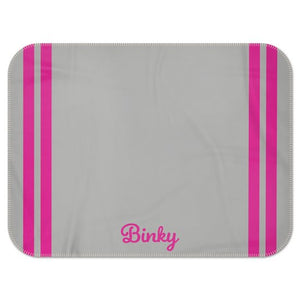 Personalised Fleece Blanket in Grey with Hot Pink Stripes and Dog Name
