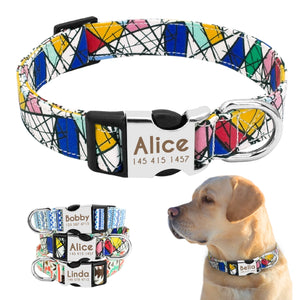Personalised Abstract Design Nylon Dog Collar With Engraved Nameplate