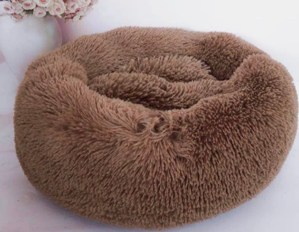 Soft Plush Round Doughnut Dog Bed. Thick and Luxurious Coffee