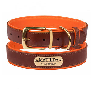 Personalised Handcrafted Genuine Leather Collar With Brass Buckle and Name Plate - Orange