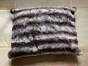 Super Luxurious Contrasting Glossy Mink and Brown Faux Fur dog Bed