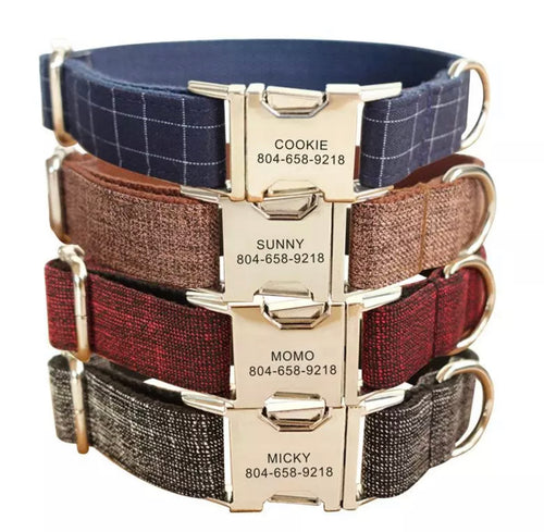 Everyday Personalised Fabric Dog Collar with Optional Matching Leash