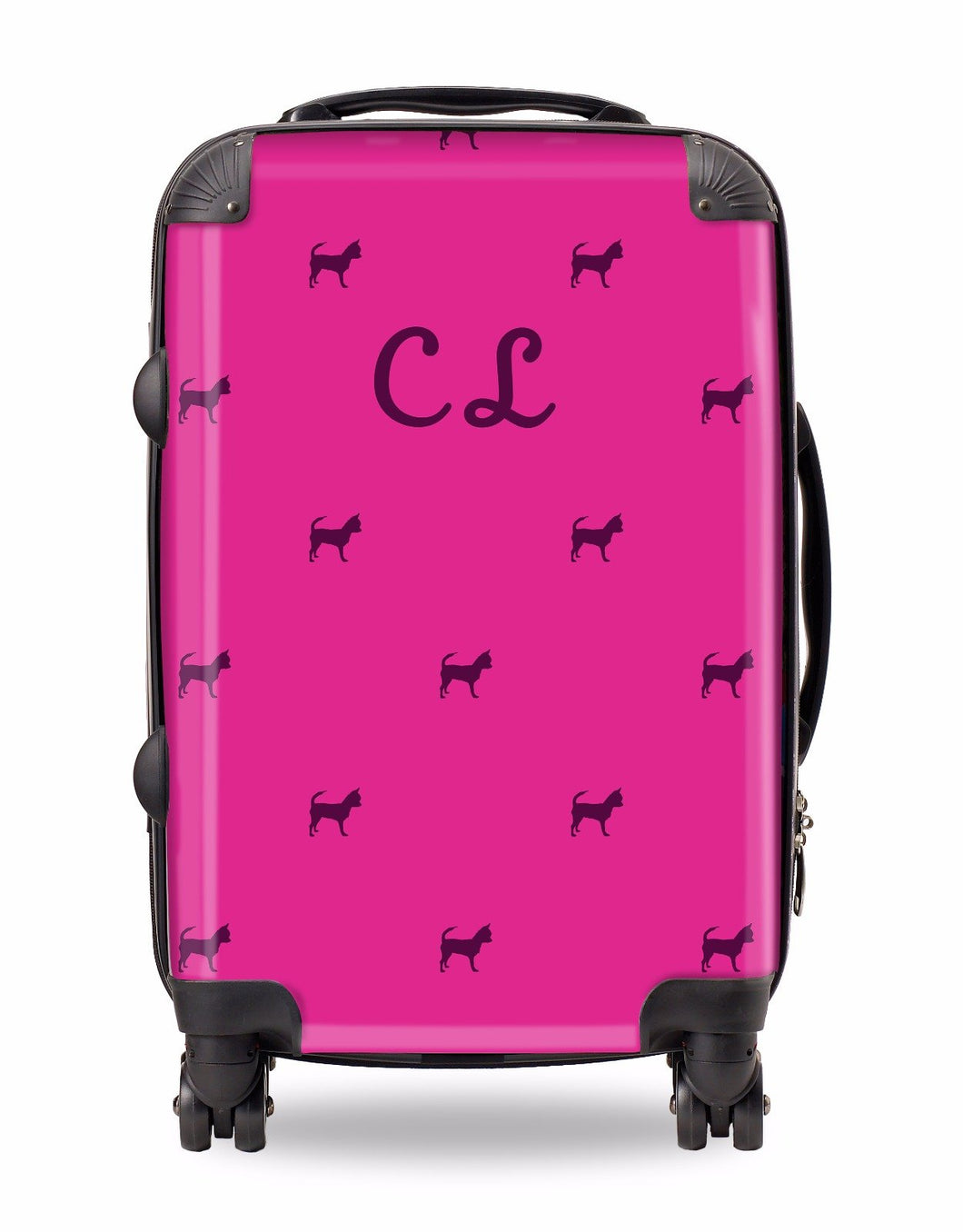 Personalised Suitcase Hot Pink with Maroon Dog Breed Silhouette Option