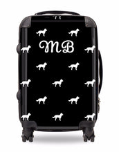 Personalised Suitcase Black with White Dog Breed Silhouette Option