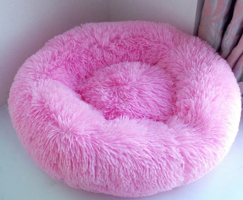 Soft Plush Round Doughnut Dog Bed. Thick and Luxurious Pink