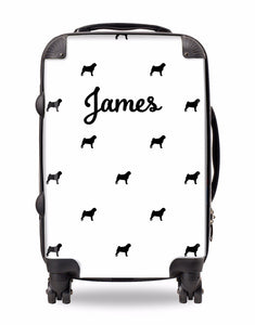 Personalised Suitcase White With Black Dog Breed Silhouette Option