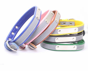 Reflective Everyday Personalised Leather Dog Collar with Colour coded Matching Padding