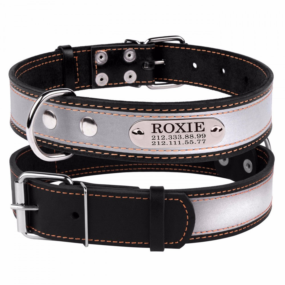 Personalised Handcrafted Black Genuine Leather Collar With Safety Reflective Band