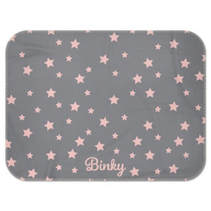 Personalised Fleece Blanket in Grey with Pink Stars and Dog Name