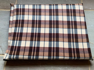 Cream Checked Luxury dog Bed