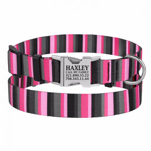 Personalised Handcrafted Funky Woven Fabric Collar-Pink and Grey