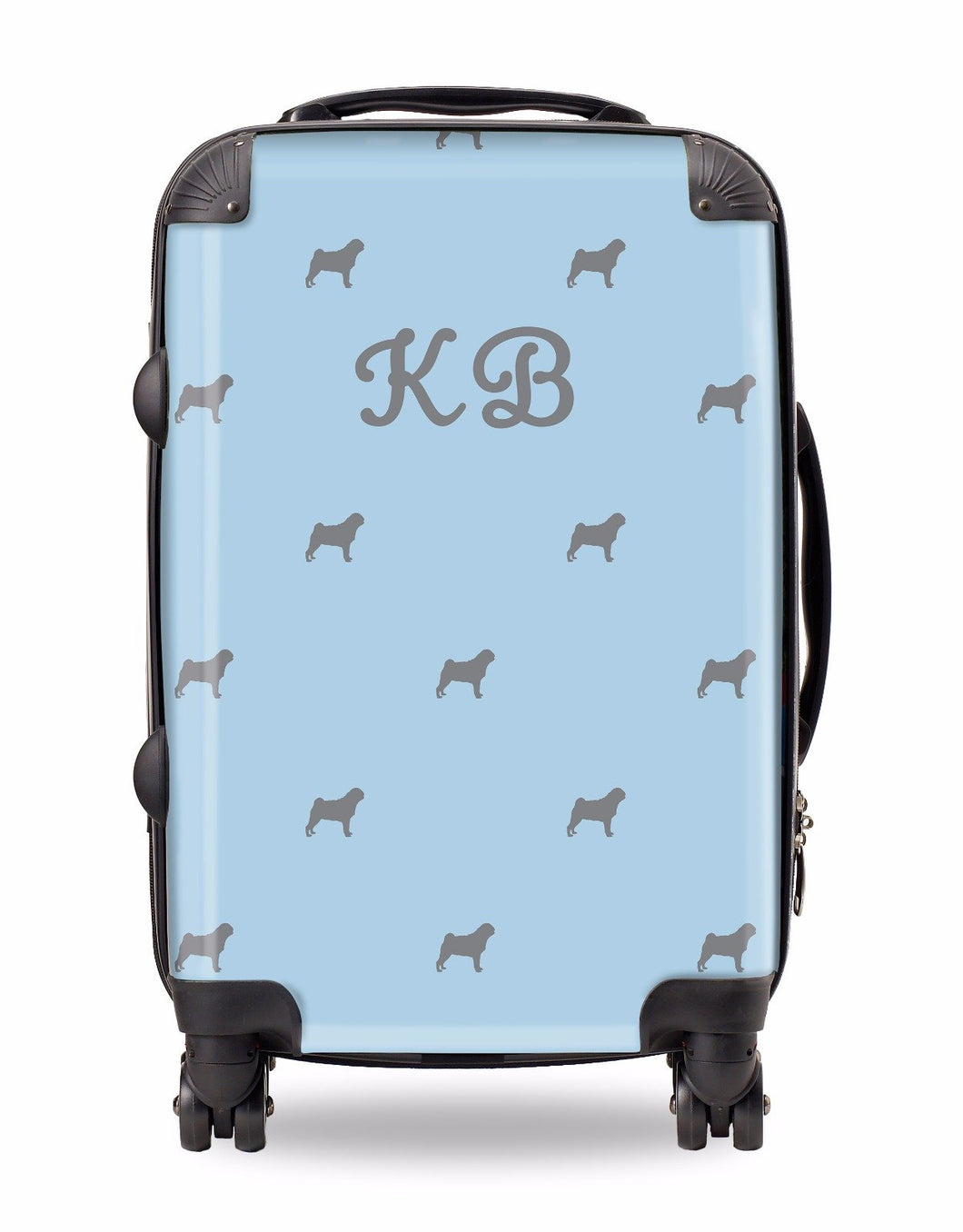 Personalised Suitcase Pale Blue with Grey Dog Breed Silhouette Option