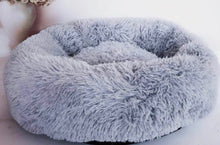Soft Plush Round Doughnut Dog Bed. Thick and Luxurious Pale Grey
