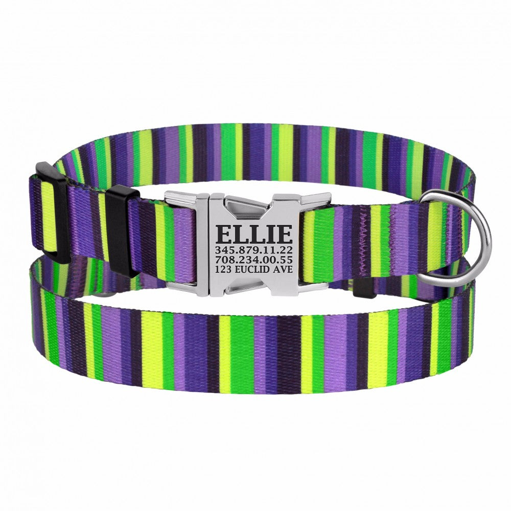 Personalised Handcrafted Funky Woven Fabric Collar-Purple and Lime Green
