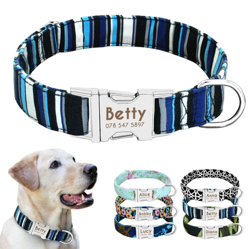 Personalised Nylon Dog Collar With Engraved Adjustable Metal Buckle