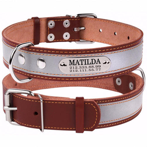 Personalised Handcrafted Brown Genuine Leather Collar With Safety Reflective Band