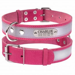 Personalised Handcrafted Pink Genuine Leather Collar With Safety Reflective Band