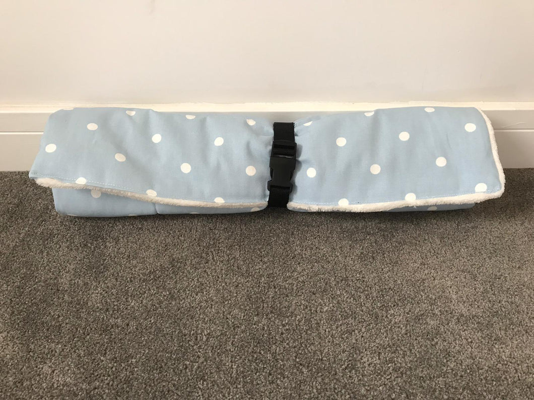 Travel Bed Pale Blue with White Polka Dot