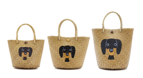 Dachshund Caricature Hand Painted Straw Bags