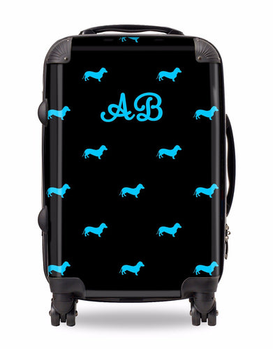 Personalised Suitcase Black with Bright Blue Dog Breed Silhouette Option