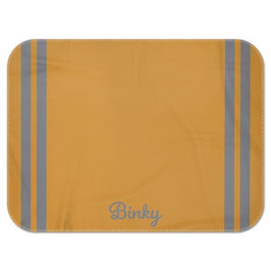 Personalised Fleece Blanket in Mustard with Grey Stripes and Dog Name