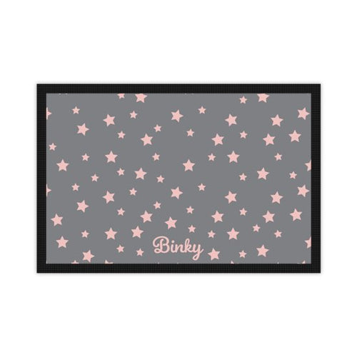 'Just for You' Personalised Pet Mat in French Grey with Pink Stars and Dogs name