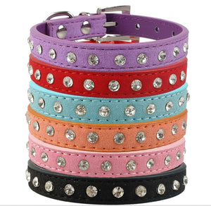Everyday Personalised Suede Leather Dog Collar with Rhinestone Insets