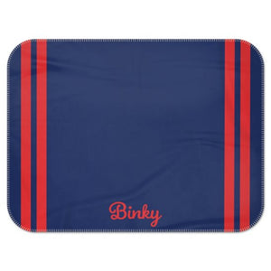 Personalised Fleece Blanket in Navy with Red Stripes and Dog Name