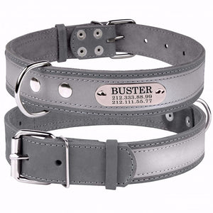 Personalised Handcrafted Grey Genuine Leather Collar With Safety Reflective Band